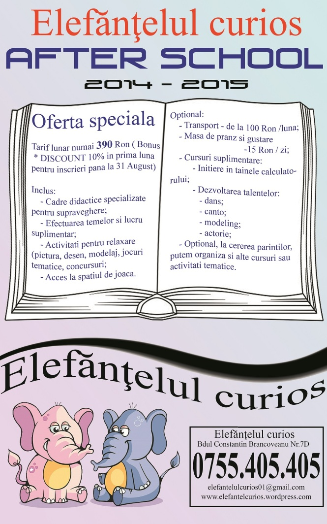 News Letter After School 2014 - 2015 Elefantelul curios Deschis